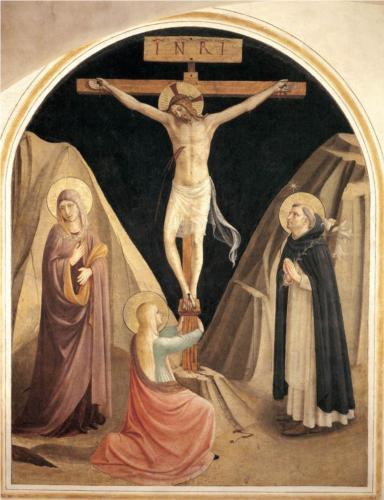 Korsfestelsen - med Den hellige jomfru, Maria Magdalena og St. Dominikus